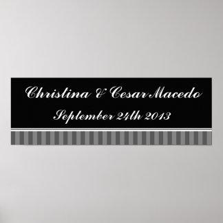 "22.5""x7.5"" Personalized Black Gray Flourish Stripe Poster"