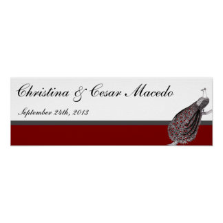 """22.5""""x7.5"""" Personalized Peacock Red Black White Posters"""