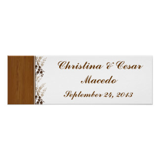 """22.5""""x7.5"""" Personalized Wooden Plank Floral Weddin Print"""