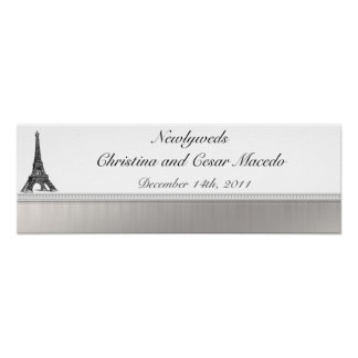 """22.5""""x 7.5"""" Personalized Banner Black Eiffel Tower Posters"""