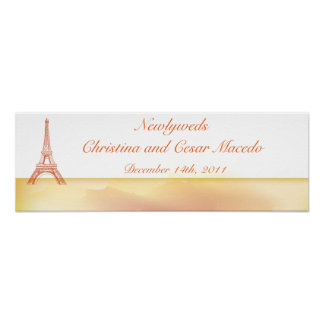 "22.5""x 7.5"" Personalized Banner Paris Peach Poster"