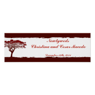 "22.5""x 7.5"" Personalized Banner Red Sunset Print"