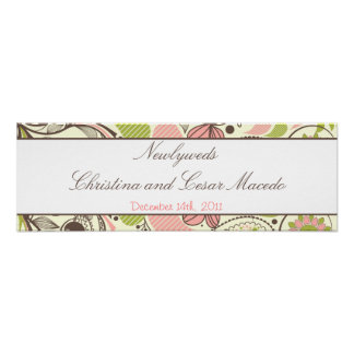 "22.5""x 7.5"" Personalized Banner Spring Pink/Green Print"