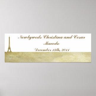 """22.5""""x 7.5"""" Personalized Banner Vintage Paris Print"""