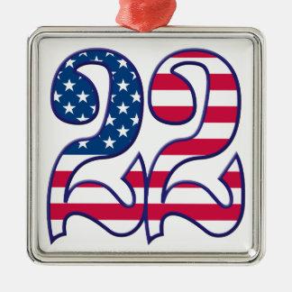 22 Age USA Silver-Colored Square Decoration