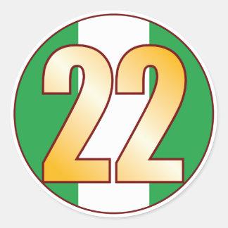 22 NIGERIA Gold Classic Round Sticker
