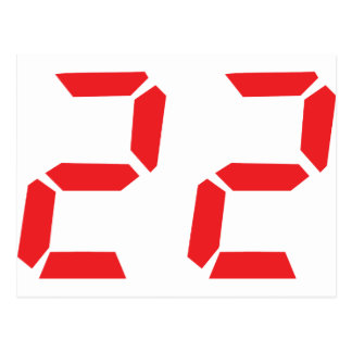 22 twenty-two red alarm clock digital number postcard