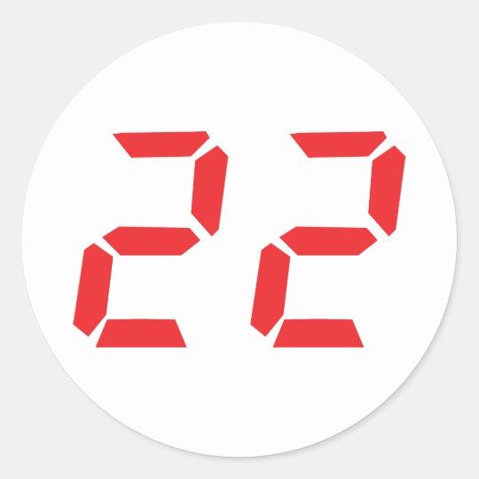 22 twenty-two red alarm clock digital number round