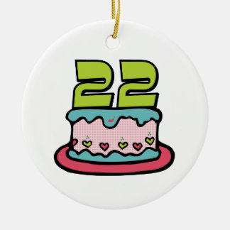 22 Year Old Birthday Cake Christmas Ornament