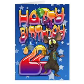 22nd Birthday Card, Happy Birthday Card