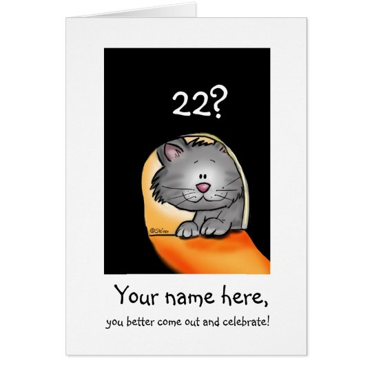 22nd Birthday Cat- Personalise with Age and Name Card