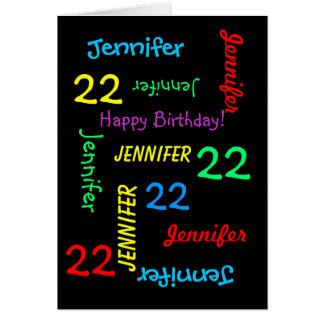22nd Birthday Custom Card Any Name, Black