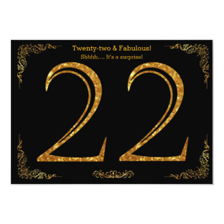 22nd Birthday party,Gatsby styl,black gold glitter 13 Cm X 18 Cm Invitation Card