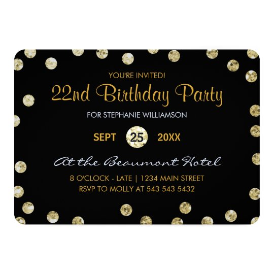 22nd Birthday Party Gold Glitter Confetti Card