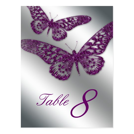 232 Butterfly Postcard Table Card Purple Silver