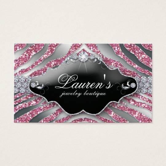 232 Jewellery Zebra Business Card Sparkle Pink SB