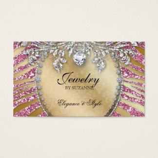 232 Jewelry Business Card Zebra Glitter Pink Gold