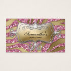 232 Sparkle Jewellery Business Zebra Gold Pink Business Card