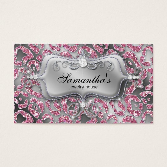 232 Sparkle Jewellery Zebra Classy Pink Business Card