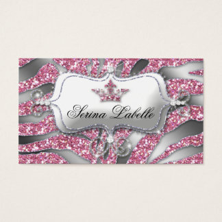 232 Sparkle Jewelry Business Card Zebra Crown Pink