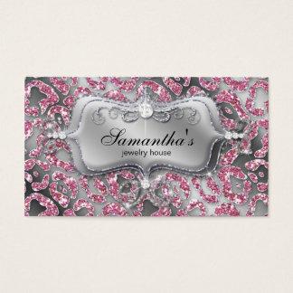 232 Sparkle Jewelry Zebra Classy Pink Business Card