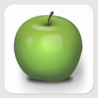 23392 PHOTO-REALISTIC GREEN APPLE GRAPHIC DIGITAL SQUARE STICKER