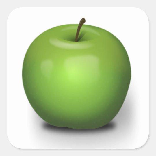 23392 PHOTO-REALISTIC GREEN APPLE GRAPHIC DIGITAL SQUARE STICKER
