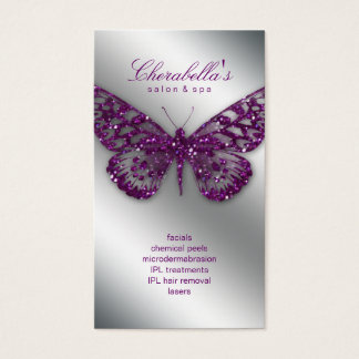 233 Beauty Business Card Salon Butterfly Purple