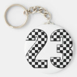 23 auto racing number basic round button key ring