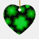 23 Shamrocks Ceramic Heart Decoration