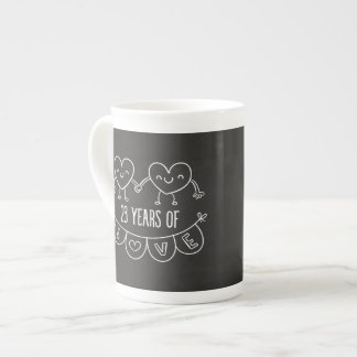 23rd Anniversary Gift Chalk Hearts Tea Cup