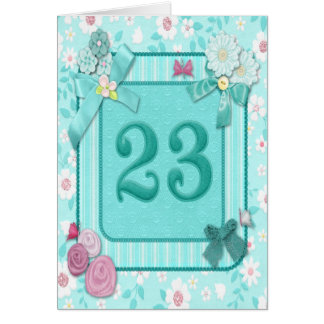 23rd birthday card with flowers