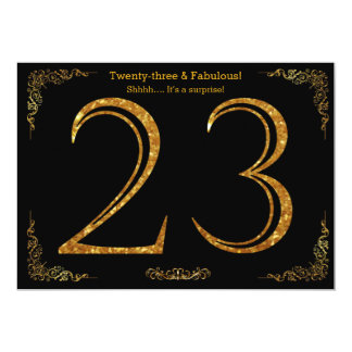 23rd Birthday party,Gatsby styl,black gold glitter 13 Cm X 18 Cm Invitation Card