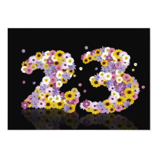 """23rd Birthday party, with flowered letters 5"""" X 7"""" Invitation Card"""