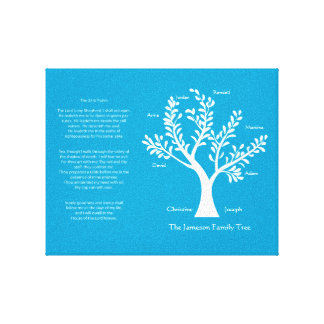23rd Psalm Family Tree Canvas, Brite Blue Canvas Prints