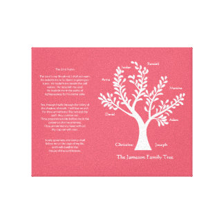 23rd Psalm Family Tree Canvas,  Crimson Stretched Canvas Print