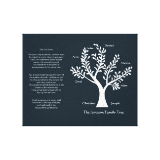 23rd Psalm Family Tree Canvas, Med Black Gallery Wrap Canvas