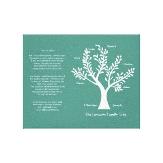 23rd Psalm Family Tree Canvas, Turquoise Canvas Print