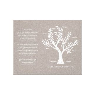 23rd Psalm Family Tree Canvas, Warm Gray Canvas Print
