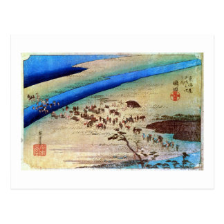 24. 嶋田宿, 広重 Shimada-juku, Hiroshige, Ukiyo-e Postcard