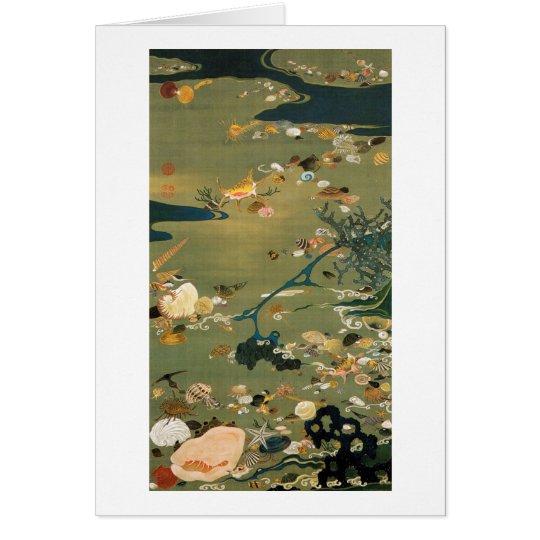 24. 貝甲図, 若冲 Shells, Jakuchū, Japan Art Greeting Card