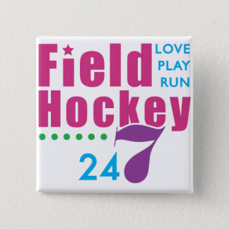 24/7 Field Hockey 15 Cm Square Badge