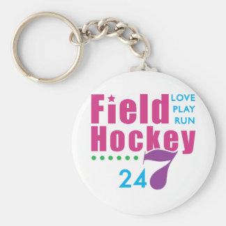24/7 Field Hockey Basic Round Button Key Ring