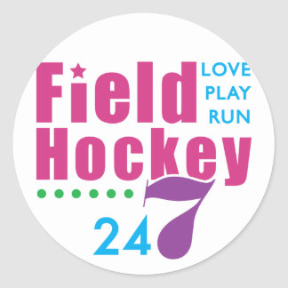 24/7 Field Hockey Classic Round Sticker