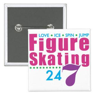 24/7 Figure Skating 15 Cm Square Badge