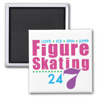 24/7 Figure Skating Square Magnet