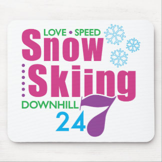 24/7 Snow Skiing Mouse Pad