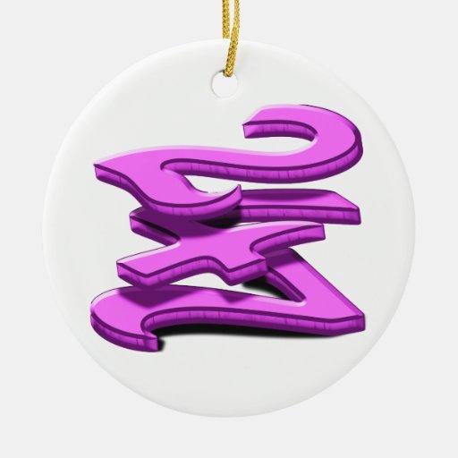 24 7 -  Twenty-Four Seven -  Pink Text Ornaments