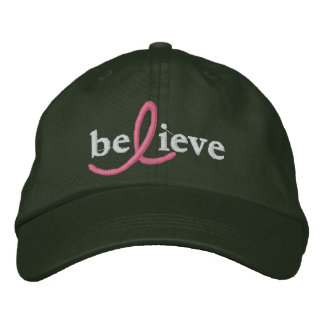 ($24.95) Believe Breast Cancer Ribbon Hat Embroidered Hat