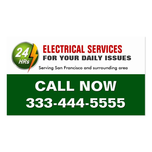 24 Hour Electrician Electrical Power Lighting Business Card Templates